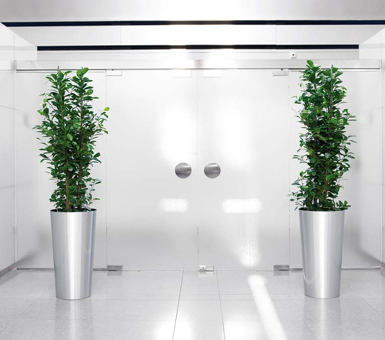 Pflanzsäule Gefäß Aluminium, Firmenbegrünung, akzente raumbegrünung