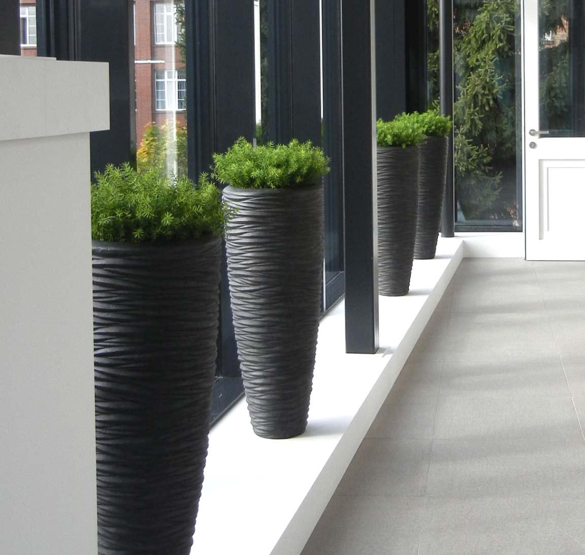 Polystonegefäß mit Kunstpflanzen im Foyer
